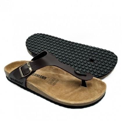 Neckermann Men's Belford Classic Thong Sandals in Genuine Leather - Dark Brown/Dark Navy/Black/Grey