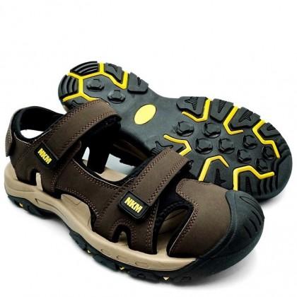 Neckermann Men's Sierra Closed Toe Hiking Sandals - Brown/Black