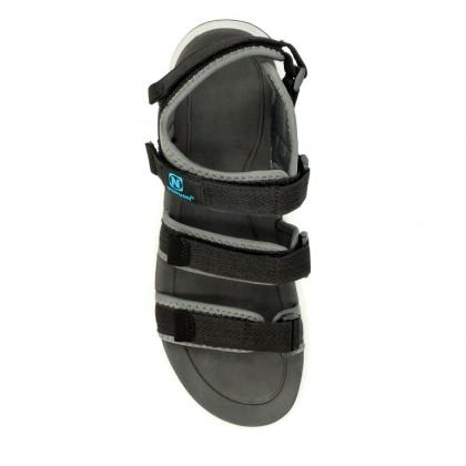Neckermann Men's Triple Strap Retro Series Sports Sandals - Black/Grey